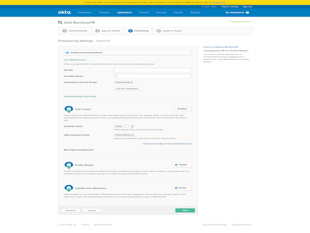 okta bamboo HR integration settings