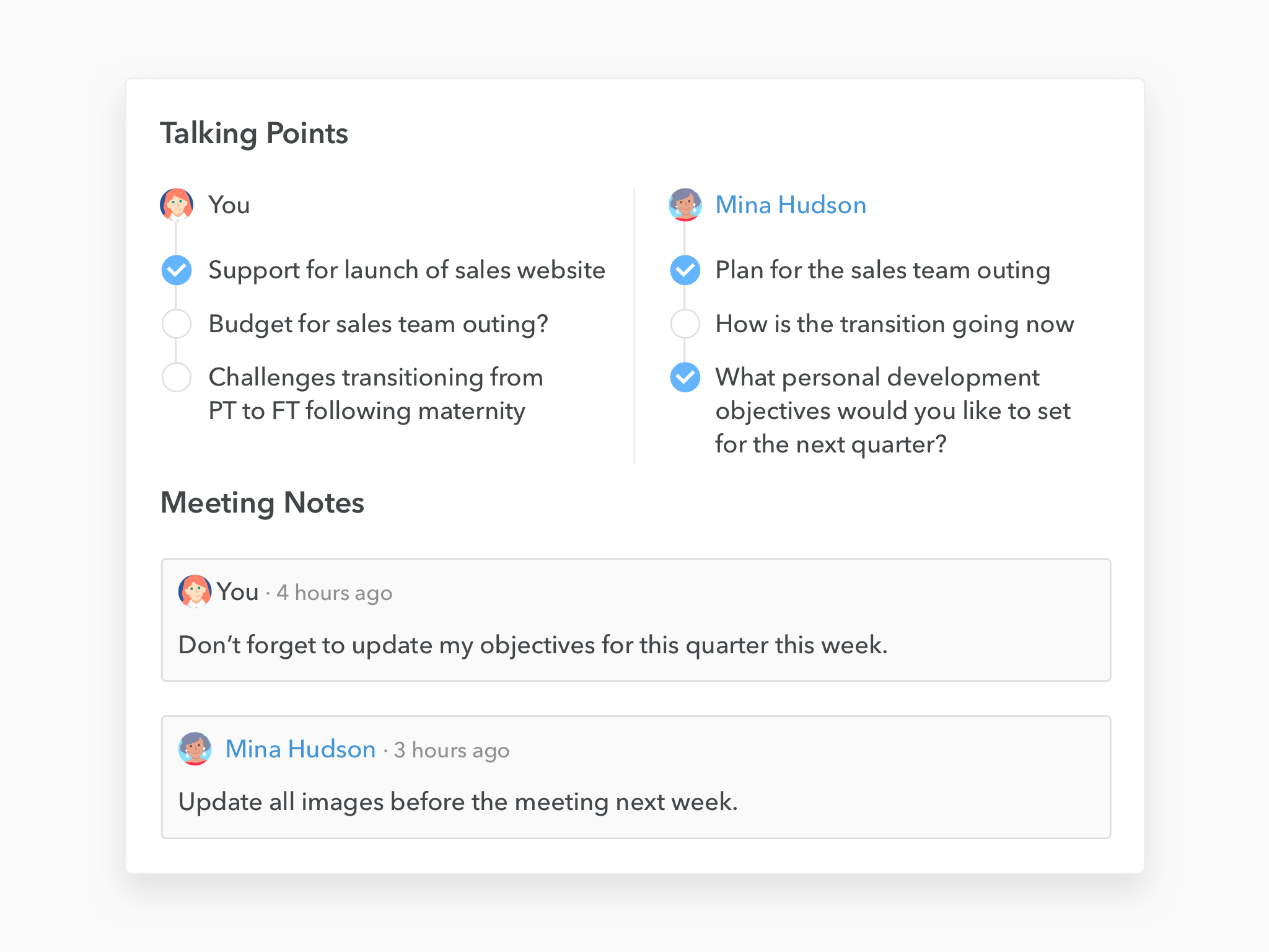 small improvements one on one checklist