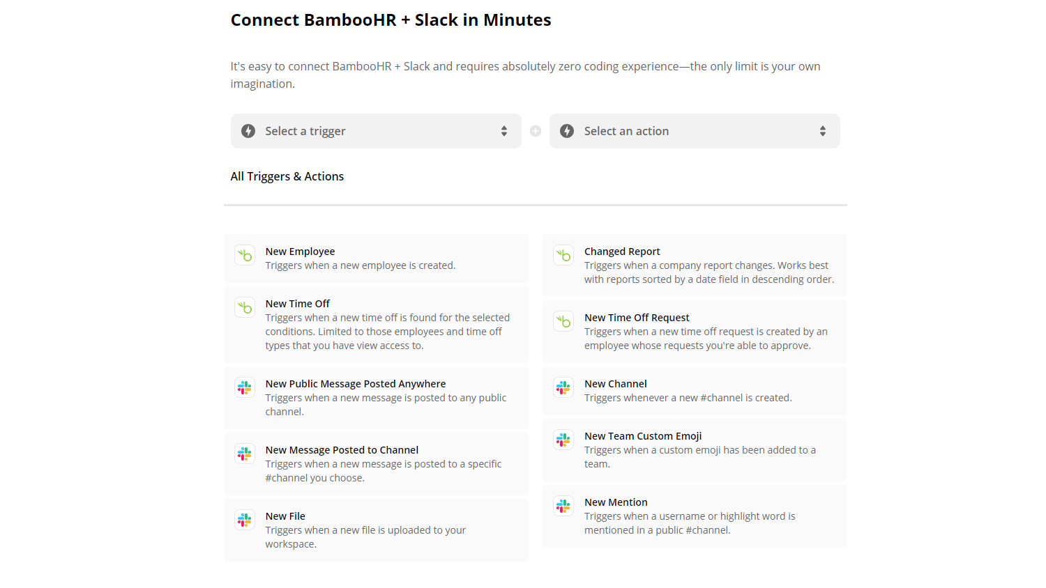 Connect BambooHR and Slack in Minutes